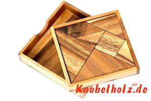 Tangram Holzpuzzle Knobelholz Legepuzzle mit Vorlagen für Kinder und Erwachsende