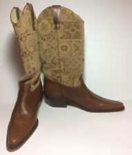 NWOB Matisse Brown Leather Tapestry Boho Western Boots Size 7