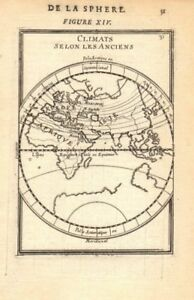 EASTERN HEMISPHERE. Climatic regions according to the ancients. MALLET 1683 map