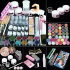 US - Pro Acrylic Nail Art Tools Kit Powder Nail Sticker DIY Pump Nail Brush Set