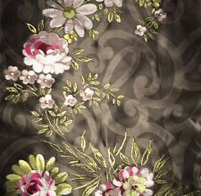 DESIGNERS GUILD Lerourney Floral Brown Red Pink Gold Silk India Remnant New
