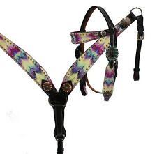 Showman DARK Leather Bridle & Breast Collar Set Multi Color CHEVRON Print! TACK!
