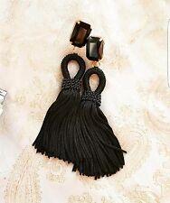 Oscar De La Renta style short black silk tassel earrings on studs