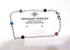 Sterling Silver Natural GARNET Gemstone Beaded Link Anklet...Handmade USA