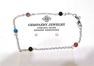 Sterling Silver Natural GARNET Gemstone Beaded Link Anklet...Handmade USA