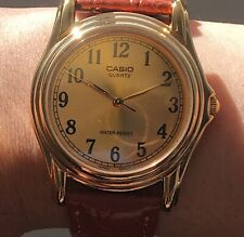 Casio MTP1096Q-9B1 Men's Brown Leather Quartz Watch with Gold Dial