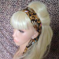 BLACK GOLD BATIK PRINT COTTON HEAD HAIR SCARF BAND SELF TIE BOW 50s RETRO STYLE