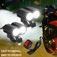 2x LED Motorrad Scheinwerfer Zusatzscheinwerfer Fernlicht Lampe mit Schalter