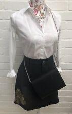 New Look Black Grey Denim Mini Skirt Size 16 Frayed Raw Edge Gold Beadwork