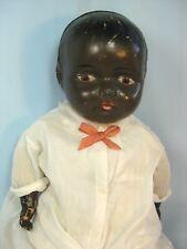 "Antique Large Black Composition Cloth Doll 28"""