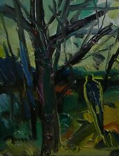 JOSE TRUJILLO ORIGINAL OIL PAINTING ABSTRACT IMPRESSIONISM WOODS WOODLAND PEOPLE