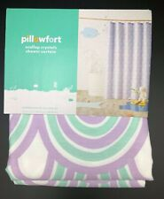 """Scalloped Shower Curtain Crystalized Green/Shy Lavender Pillowfort 72"""" X 72"""" New"""