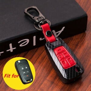 Red Carbon Fiber Leather 5 Buttons Key Case Cover Chain for Chevrolet GMC Buick