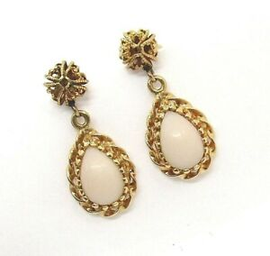 "14K Yellow Gold White Coral Pierced Earrings 3.12 grams 7/8"" lot 35e6"
