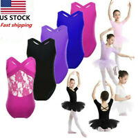 US Girls Kid Ballet Tutu Dress Gymnastics Leotard Sleeveless Jumpsuit Dancewear