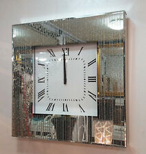 Modern Glitter Silver Lines Dots Mirrored Glass Square Wall Clock 50cm Silve 220