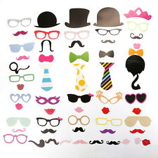 DIY 58 Pcs Photo Booth Props Kit Mustache on A Stick for Weddings Birthday Party