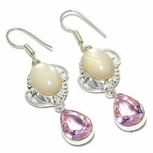 """Mother Of Pearl, Kunzite Quartz Gemstone Silver Jewelry Earring 2.2"""" KE17256"""