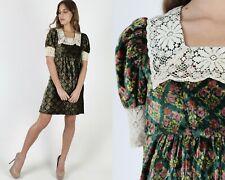 Vtg 70s Emerald Velvet Dress Romantic Floral Crochet Lace Saloon Evening Mini