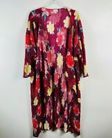 LuLaRoe Size Large Red Floral Pleated Shirley Kimono Top Short Sleeve
