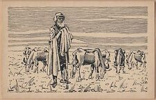 Handmade & Handpainted Postcard-Man with Cattle
