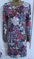 TU LADIES FLORAL LONG SLEEVED SHIFT DRESS SIZE 12 GREEN WHITE PINK BLUE