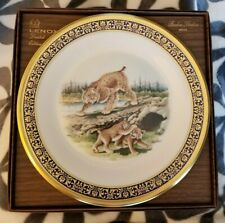 1980 Lenox Boehm Woodland Wildlife Bobcats Plate Mint in Box with Certificate