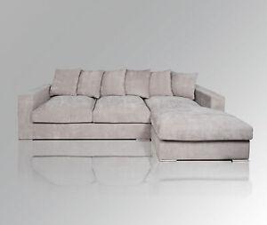 AMARIS Elements   Ecksofa 'Moore' Samt Sofa Stoff grau L Form 2.95m