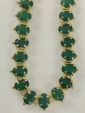 "Genuine Green Chalcedony (46.5ctw) 18kt Yellow Gold Overlay Necklace, 24"", New"