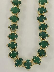 """Genuine Green Chalcedony (46.5ctw) 18kt Yellow Gold Overlay Necklace, 24"""", New"""
