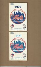 New York Mets Official Schedules 1977 & 1979 - Shea Stadium near mint