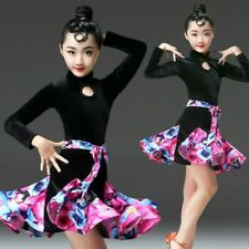 Girls Kids Latin Dancewear Dance Dress Performance Dancing Costume Rose Red