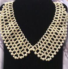 Para Mujer Crema Perlas de Imitación Cuello Peter Pan Collar Con Cuentas Bisutería
