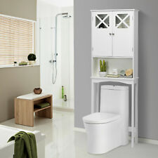 2-Door Over the Toilet Bathroom Storage Cabinet with Adjustable Shelf White