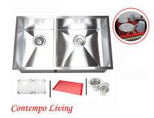 "32"" Stainless Steel Double Bowl 40/60 Zero Radius Straight corner Kitchen Sink"