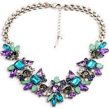 Neu Modeschmuck Damen Kristall Blume Kette Halskette Statement Chunky Collier