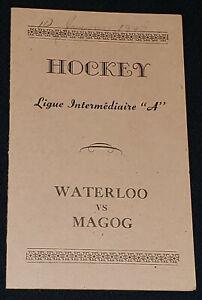 "1947 WATERLOO vs MAGOG, QUE, CANADA INTERMEDIATE ""A"" LEAGUE - HOCKEY GAME LINEUP"