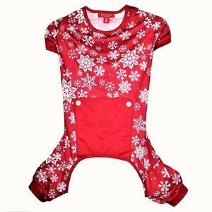 Dogs Family Pajamas Merry Pet Pajamas Red White Snowflakes Medium