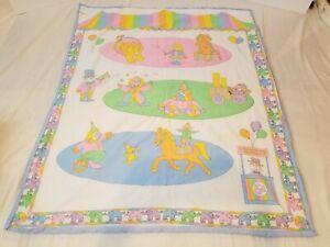 Vintage Handmade Baby Quilt Circus Carnival Theme Elephants Pastel Colors Nurser