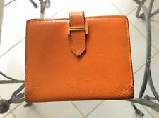 HERMES Wallet Clutch BERN small Orange With H Auth VIntage made in France