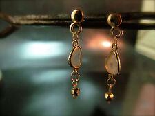 14k Yellow gold earrings with Flat slice Diamond.Handmade dangle Diamonds
