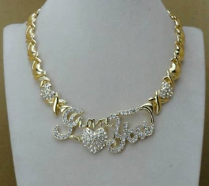 Hugs and Kisses xL I Love You XO X Heart 14k Gold Necklace with Bracelet Set #6