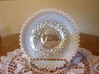 "FENTON FRENCH OPALESCENT DIAMOND OPTIC LOW 9"" BOWL UNUSUAL"