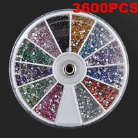 3600pcs Nail Art Rhinestones Glitter Diamond Gems 3D Nail Tips Decoration Wheel