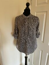 Leopard Print Button Up Blouse From Zara Size Large Approx UK 14