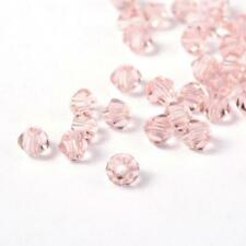 50 Pink Crystal Glass Bicone Beads Faceted Misty Rose 4mm