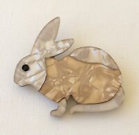 Unique large Bunny Brooch  Pin In acrylic
