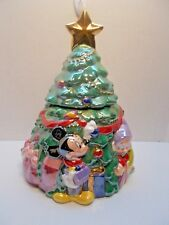 DISNEY CERAMIC CHRISTMAS TREE COOKIE JAR MICKEY MOUSE & FRIENDS LE 3000 VHTF c