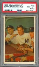 1953 Bowman Color Bauer/Mickey Mantle/Yogi Berra #44 - Yankees - PSA 8 - NM-MT