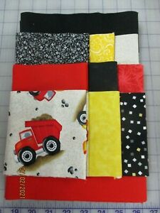 Adorable Trucks Disappearing 9 Patch Baby Boy Complete Quilt Kit